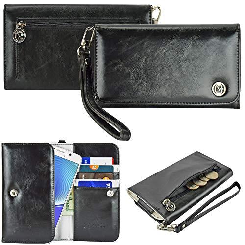 Case+Stand PU Leather Purse/Clutch/Pouch Fits Apple iPhone Samsung LG Motorola HTC ZTE Universal Women's Cute Wristlet Strap Flip Case Wallet - Black Small. Fits The Following Models: