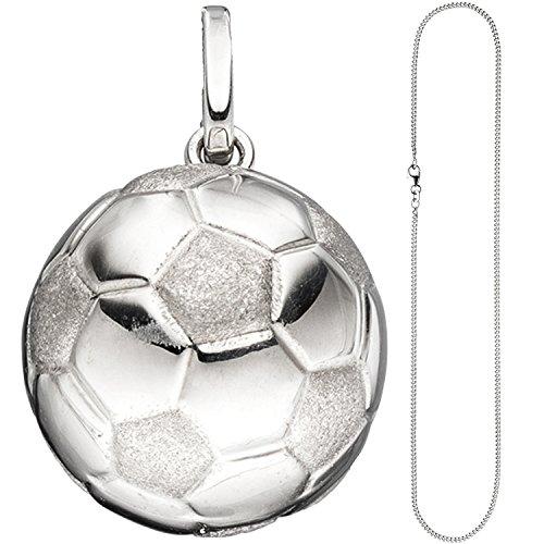 JOBO Kinder Anhänger Fußball 925 Silber Fußballanhänger mit Kette 42 cm