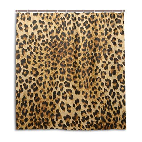 CPYang Duschvorhänge Wildtier Leopard Druck Wasserdicht Schimmelresistent Badvorhang Badezimmer Home Decor 168 x 182 cm mit 12 Haken