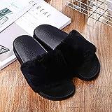 ypyrhh Pantuflas cómodas de espuma viscoelástica para mujer, cálidas zapatillas de una sola palabra, zapatillas de lana de suela gruesa, negro, 40, suela antideslizante de espuma viscoelástica