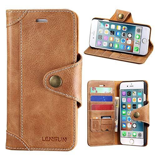 LENSUN Handyhülle für iPhone 8 Plus, iPhone 7 Plus Leder Hülle, Echtleder Handytasche mit Magnetverschluss Hülle Schutzhülle Lederhülle für iPhone 7+/ iPhone 8+ - Braun
