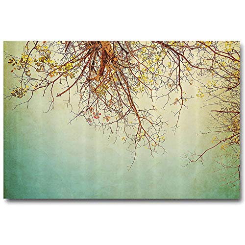 ScottDecor Nature Modern Wall Art Picture for No Frame Vintage Tree Flower Branches with Spring Blooms Fresh Leaves Print for Any mom Ginger Mint and Light Green L32 x H48 Inch