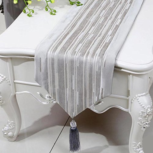 KKY-Enter Table Runner Light Grey Simple Modern Striped Linen Tablecloth (Seulement Le Coureur de Table à Vendre) 33 * 200cm