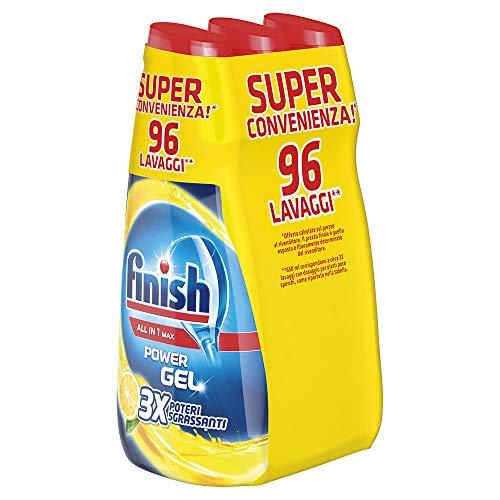 Finish Powergel, Gel Detersivo per Lavastoviglie Liquido, Multiazione, Limone Sgrassante, 96 Lavaggi, 3 Confezioni da 32 Lavaggi