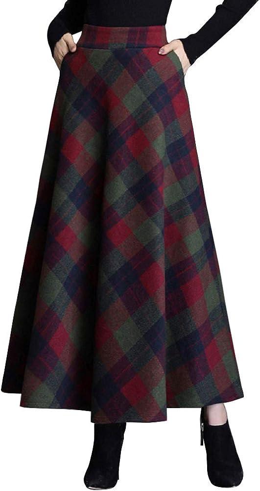 CHARTOU Women's Wool Blend High Waist Plaid A Line Flared Swing Maxi Long Skirt