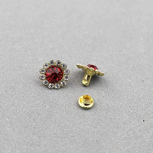 30-100 Sets 11mm Forma de flores Cristal Rhinestone Prendas de vestir Remaches Diamante Studs Artesanías DIY Artes Decoración de cuero Clavos Taladro Clavos, Remaches rojos, 100 piezas