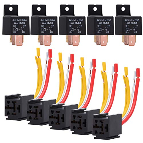 Corner-Lights 5pcs 12V 30//40 A 5Pin SPDT Power Relay with Wires Harness Socket