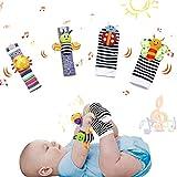 HahaGo - Juego de 4 sonajeros de muñeca para bebés, muñecos de Animales de Juguete Suave para bebés, Calcetines de búsqueda de pies para bebés y sonajeros de Tobillo para bebés de 0 a 6 Meses