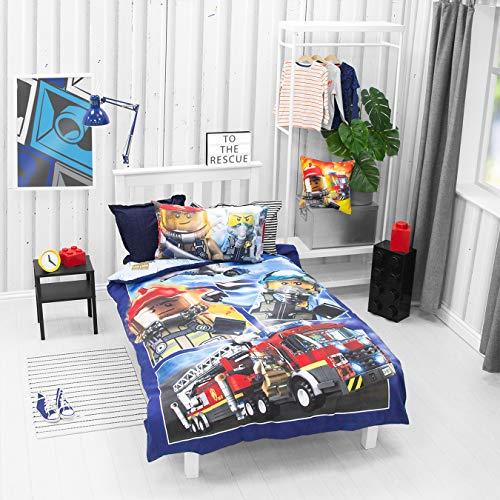 LEGO Official Single Duvet Cover | Classic City Design | Boys & Kids & Teenager Reversible Bedding Set & Pillowcase, Blue