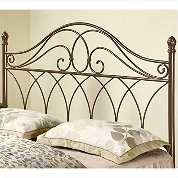 BOWERY HILL Full Queen Metal Headboard In Brown