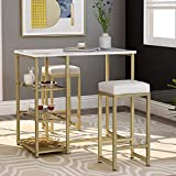 P PURLOVE 3-Piece Modern Pub Set Counter Height Pub Table Set Kitchen Bar Table Set with 2 Bar Stools for Small Place
