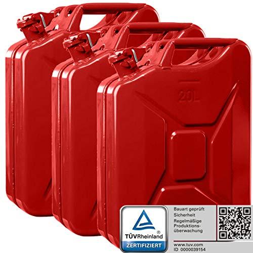 Oxid7 3X Benzinkanister Kraftstoffkanister Metall 20 Liter Rot mit UN-Zulassung - TÜV Rheinland Zertifiziert - Bauart geprüft - für Benzin und Diesel