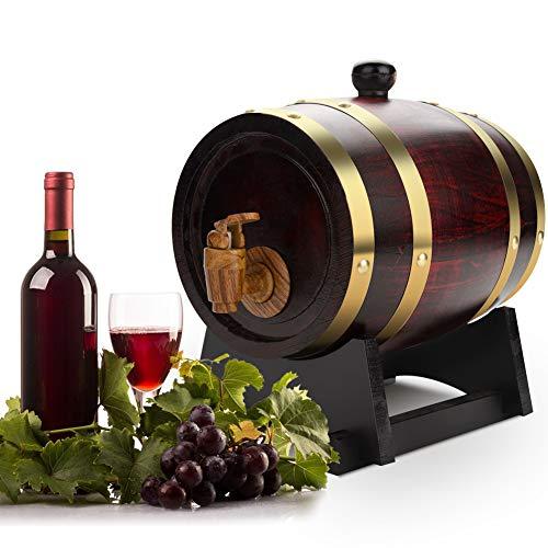 Ejoyous Eichenfass 1.5L Holzfass Weinfass Whiskyfass Weinrot Weinfass, Eichenfass Zur Lagerung von Wein, Schnaps und Whisky, 1,5L Holz Weinfass