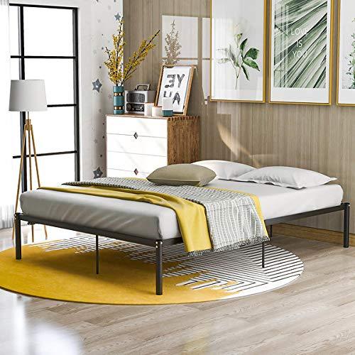Estructura estable de cama con plataforma, no requiere herramientas para el montaje, almacenamiento debajo de la cama, color negro (200 x 140 cm)