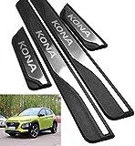 NTUOO 4Pcs Coche Acero Inoxidable Barra Umbral, para Hyundai Kona 2017-2020 Puerta Patada Kick Plates Bienvenida Pedal Protección Tira Decoración Estribos, Auto Peinado Accesorios