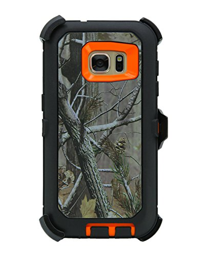 """WallSkiN Turtle Series Holster Case for Galaxy S7 (5.1""""), 3-Layer with Screen Protector, Full Body Life-Time Protection, Protective Heavy Duty & Carrying Belt Clip - Camouflage/Orange"""