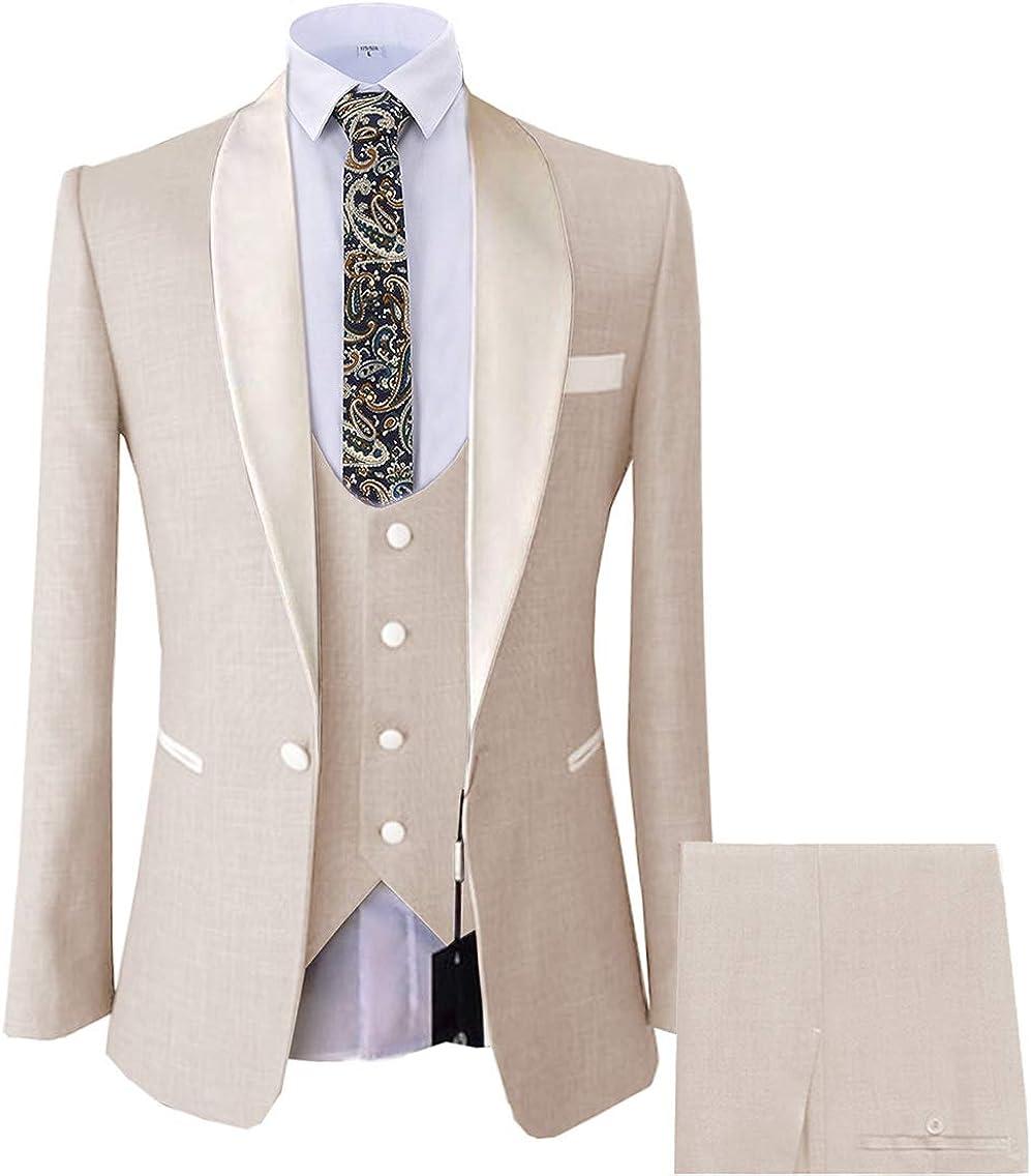 Vincent Bridal Men's 3 Piece Suit Modern Fit Shawl Lapel Solid Tuxedo Wedding Blazer Vest & Pants