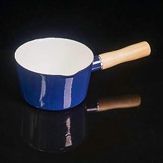 Yqs Cazo 700 ml Esmalte Sola manija de la Leche del café Calefacción Pot bebé alimento Cocción Salsa de Pan de Cocina Olla de Cocina de inducción, Cocina de Gas (Color : Blue)