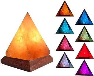 BSTQC Lámpara de sal pirámide, colorida luz de sal del Himalaya, lámpara de iones negativos con base de madera, luz de ambiente relajante