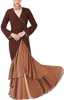 Howely Women Kimono Middle East Falbala Color Splice Muslim Dresses Abaya