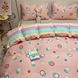 Girls Strawberry Grids Bedding Sets Pink Queen Duvet Cover 100% Coton Bedding Comforter Cover 3 pcs Sets with 2 Pillowcase for Kids Teens Adults Rainbow Bedding Queen