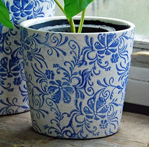 Bluebell Yard Terrakotta-Übertopf, klein, mit Craquelé-Glasur, Blau / Weiß