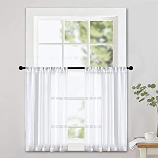 MRTREES White Sheer Curtain Tiers 36 inch Length Kitchen Window Sheers Bathroom Short Voile Curtain Panels Rod Pocket Cafe Curtains Light Filtering 2 Panels