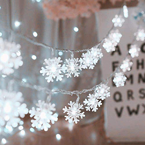 HuTools Christmas Decorations Christmas Snowflake Led Lights 16.5ft 50 LED Battery-Operated Fairy String Lights Snowflake Decorations for Home, Church, Wedding, Birthday Party(Snowflakes White)