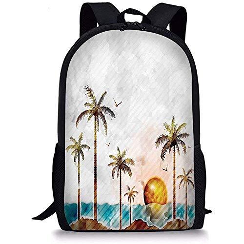 Mei-shop Mochilas Escolares Hawaiian Watercolor Style Tropical Island con cocoteros y pájaros Sunset Lámina Verde Marrón