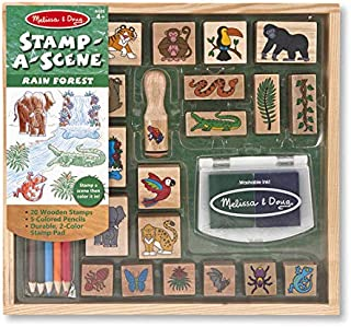 Melissa & Doug Rain Forest: Stamp-a-Scene Wooden Stamp Set & 1 Scratch Art Mini-Pad Bundle (02423)