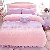 Purple pink Luxury Plush Fluffy warm Quilt Cover Bed Skirt Pillow Pillow Cover Girl Bedding Set