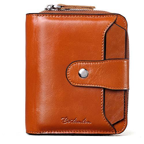 BOSTANTEN Leather Wallets for Women RFID Blocking Zipper Pocket Small Bifold Wallet Card Case Brown