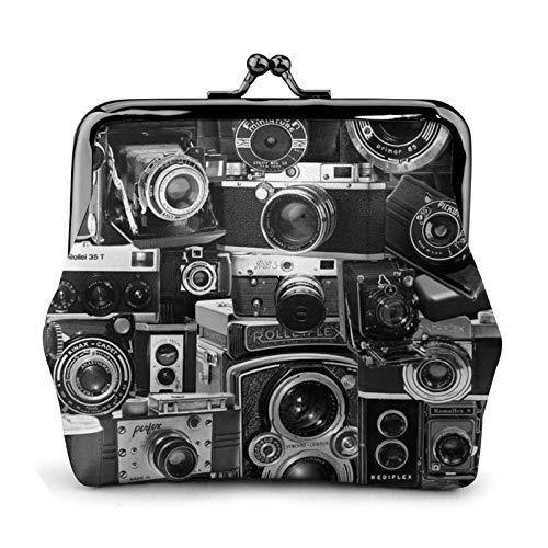Retro Cool Camera Collection Theme Gift para mujeres – Monedero de cuero de alta gama para mujer.