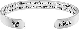 هدية تذكارية للنساء من MEMGIFT ، أساور كم ملهمة تشجيع ملهم تذكار فقدان أحدهم تذكر تعزيزها رسالة سرية محفورة