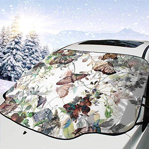 Wasserfarbe-Gemälde von Blättern und Blumen, Autoschnee-Abdeckung, Frost-Sonne, Windschutzscheibe, wasserfest, für Auto, LKW, Van, SUV, personalisierbar