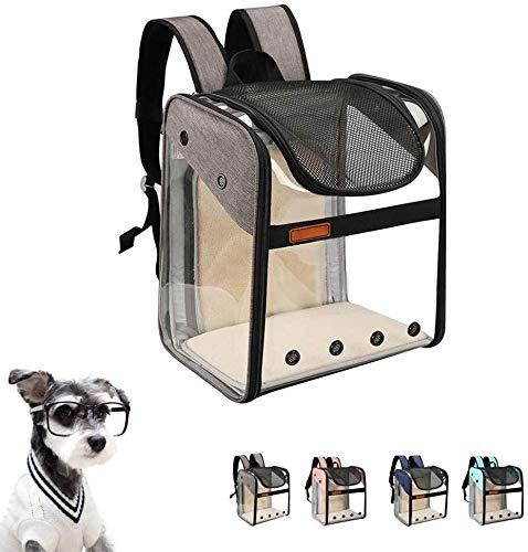 LZC Portador del perro, animal doméstico del perrito Mochila Perros Gatos, ampliable bolsa de transporte con estructuras de alambre, plegable Mochila Top Design Apertura transparente y espaciosa for v