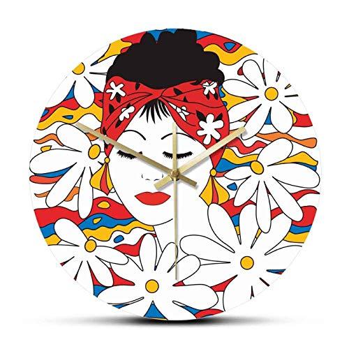 Reloj de Pared Belleza Mujer Tropical con Flores Sin tictac Acrílico Impreso Reloj Colgante de Pared Glamour Reloj de Arte de Pared Femenino