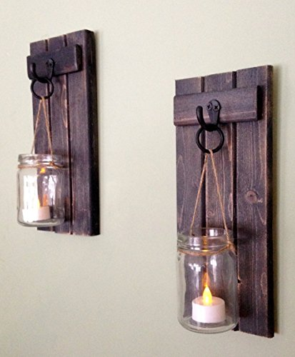 "Rustic Wall Decor, Wall Sconce, Rustic Wall Sconce, Candle Holder, Rustic Wooden Candle Holder, Black Set Of Two, 12""x5"", in Weathered Black!"