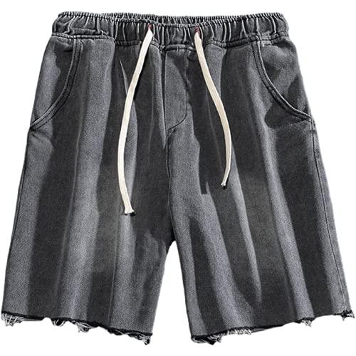 Katenyl Pantalones Cortos de Mezclilla con Cintura elástica para Hombre, Pantalones Cortos Deportivos Informales de Moda Lavados con Borde Crudo, Ropa de Calle al Aire Libre 3XL