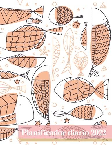Planificador diaro 2022: Patrón de pez estilizado. Agenda de un año. Formato largo. Una página por día, horarios de 6 am / 11 pm, lista de tareas pendientes, notas. Calendario.