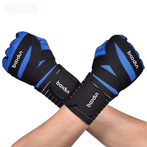 Guantes de gimnasio, guantes de levantamiento de pesas, unisex, correa horizontal, barra de medio dedo, antideslizantes, guantes deportivos para culturismo, hombres y mujeres (color: azul, talla: M)