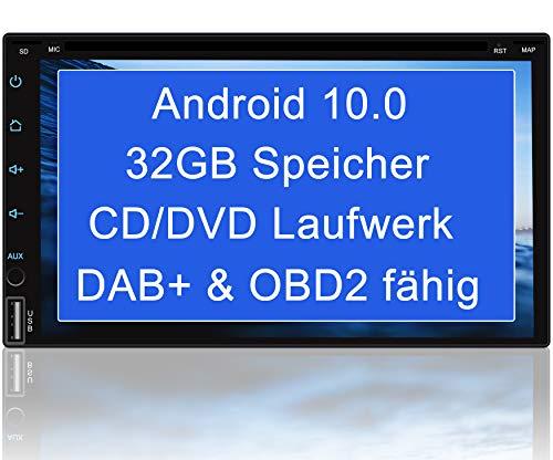 "Tristan Auron BT2D7018A-DVD Android 10 Autoradio mit Navi - 7\"" Touchscreen GPS Bluetooth Freisprecheinrichtung I 32GB ROM I MirrorLink WiFi USB SD I DAB+ OBD 2 2 DIN"