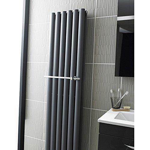 Hudson Reed HL318 Revive moderne handdoek rail voor badkamer radiator, chroom, set van 2 stuks