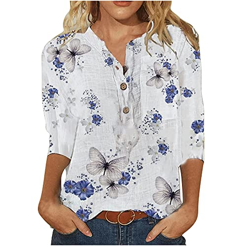Wirziis Women Summer 3/4 Sleeve Tops, Trendy Button Down V-Neck Tunic Shirt Spring Autumn Floral Loose Fit Casual Blouse