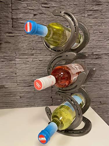 Hufeisen Weinregal, Flaschenhalter, ideales Geschenk für Pferdeliebhaber, Platin metallic pulverbeschichtet für 3 Flaschen