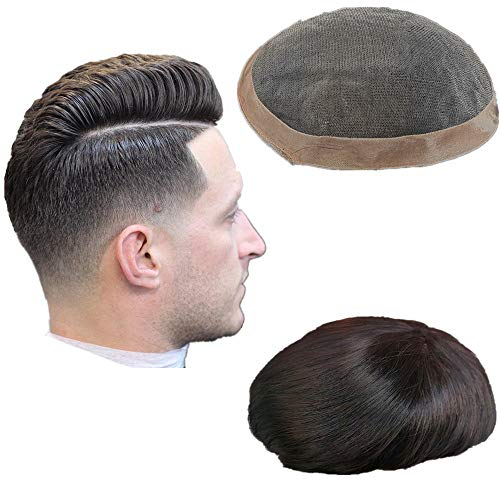 """NLW European human hair mens toupee Mono base with NPU around human hair replacement system 6x9"""" Straight hair pieces for men #1b Off black"""