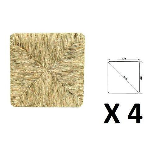 Seduta Fondo Fondello Sedile di ricambio in vera paglia 37x37cm (x4, x4)