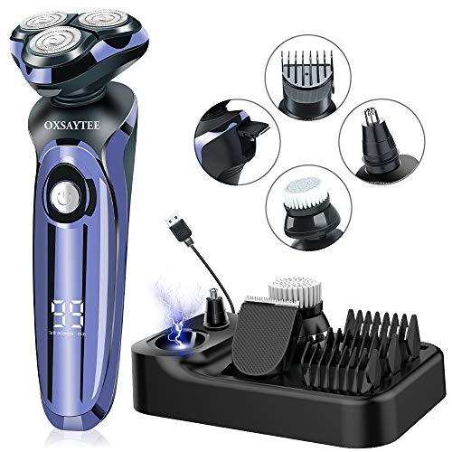 Rasierer Herren Elektrisch 4D Elektrischer Nass- und Trockenrasierer IPX7 Wasserdicht Rasierapparat Elektrorasierer LED-Display Präzisionstrimmer 4 IN 1 Rotationsrasierer Männer mit USB & Ladestation