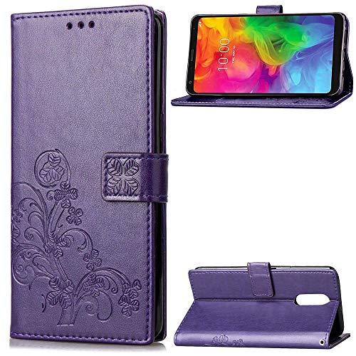 LG Q7 Hülle, SATURCASE Lucky Clover PU Lederhülle Magnetverschluss Flip Brieftasche Handy Tasche Schutzhülle Handyhülle Hülle mit Standfunktion & Kartenfächer für LG Q7/LG Q7 Plus/LG Q7α (Lila)