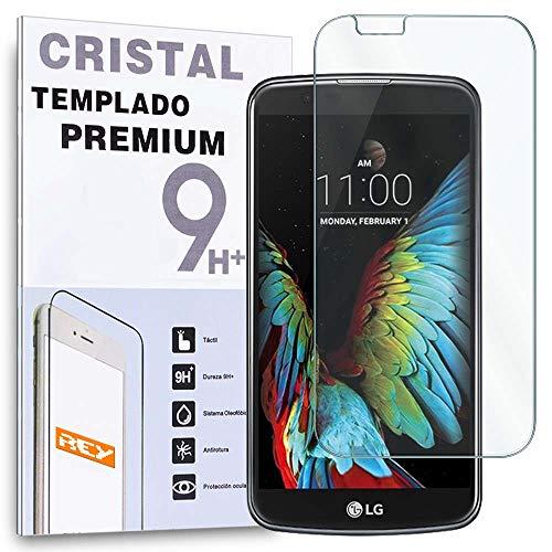 REY Protector de Pantalla para LG K10, Cristal Vidrio Templado Premium